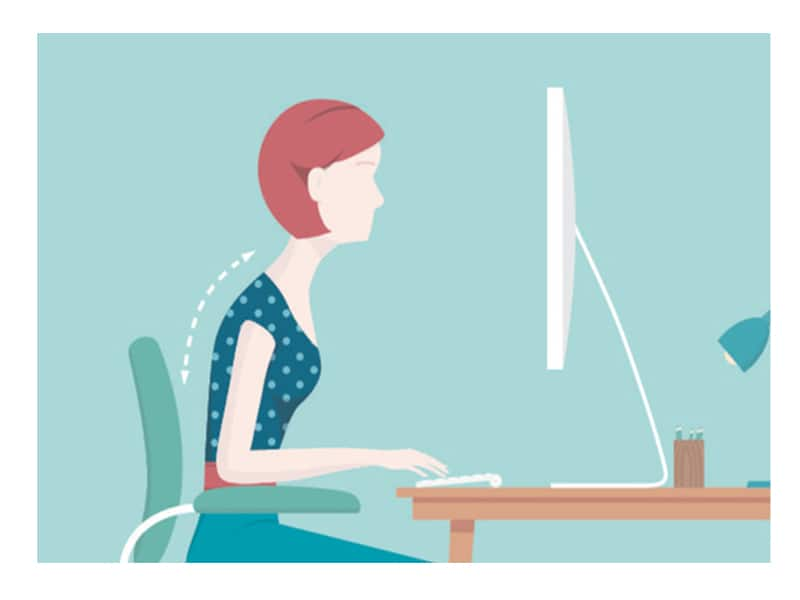 cartoon image of women sitting at desk bad posture